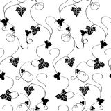 Vector seamless pattern with black pumpkin's leaves on white background Stock Image
