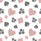 Vector seamless pattern with black and red lined playing card symbols on the white background. Royalty Free Stock Image