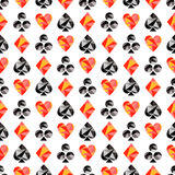 Vector seamless pattern with black and red playing card symbols. Polygonal design. Geometric triangular origami style, graphic  Stock Images