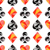 Vector seamless pattern with black and red playing card symbols. Polygonal design. Geometric triangular origami style Royalty Free Stock Image