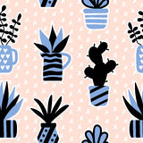 Vector seamless pattern with black succulents and houseplants in vase Stock Photo
