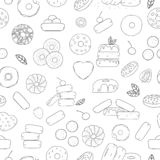 Vector seamless pattern of black and white doughnuts vector illustration