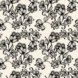 Vector seamless pattern with black and white flowers Stock Images