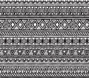 Vector seamless pattern with black and white hand drawn ethnic elements. stock illustration