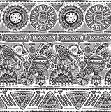 Vector seamless pattern with black and white hand drawn triangles, ornate birds. Stock Images