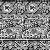 Vector seamless pattern with black and white hand drawn triangles, ornate birds. Royalty Free Stock Photos