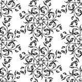 Vector seamless pattern with black and white leaves Royalty Free Stock Photos