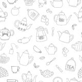 Vector seamless pattern of black and white teapots stock illustration