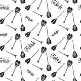 Vector seamless pattern with black and white turkish musical instruments