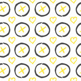 Vector seamless pattern. Black, white and yellow hand drawn print with hipster XOXO. Vector seamless pattern. Black, white and yellow  hand drawn print with Royalty Free Stock Photo