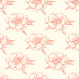 Vector seamless pattern with blooming almond Stock Images