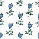 Vector seamless pattern with blue bluebell flowers. Stock Photo