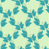 Vector seamless pattern with blue butterfly Stock Image