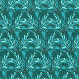 Vector seamless pattern with blue feather Royalty Free Stock Image