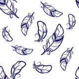 Vector seamless pattern with blue feathers on white background. Hand drawn sketch style seamless pattern. White feathers with dark blue outlines on white Royalty Free Stock Photos
