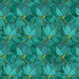 Vector seamless pattern with blue flowers Royalty Free Stock Photo