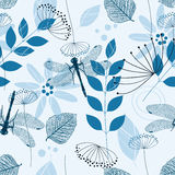 Vector Seamless Pattern of Blue Flowers and Leaves Stock Images