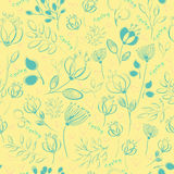 Vector seamless pattern. Blue flowers Stock Photography
