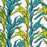 Vector seamless pattern with blue and green leaves Stock Photo