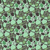 Vector seamless pattern with blue green shells. Amonite seamless vector texture Royalty Free Stock Images