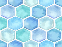 Vector  Seamless Pattern with Blue Hexagons Stock Photo