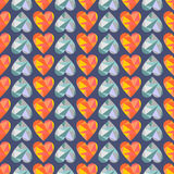 Vector seamless pattern with blue and orange hearts. Polygonal design. Geometric triangular origami style, graphic illustration. Series of Love Seamless Stock Photo