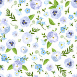 Vector seamless pattern with blue pansy and forget-me-not flowers. Stock Photography