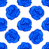 Vector seamless pattern with blue rose. Watercolor Stock Image