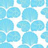Vector seamless pattern with blue shells Stock Photo
