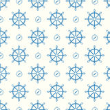 Vector seamless pattern blue ship wheels and compass Royalty Free Stock Photography