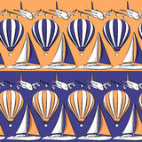 Vector seamless pattern with boat, airplane and air balloon. EPS10 Royalty Free Stock Photography