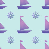 Vector seamless pattern with boats and helms Royalty Free Stock Photo