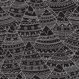 Vector seamless pattern with boho ornamental mountains. Stock Photos