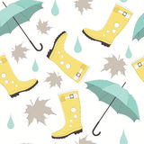 Vector Seamless Pattern with Boots and Umbrellas Stock Photography