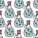 Vector seamless pattern with bottles with love elixir. Happy Valentines day card Royalty Free Stock Photo