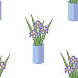 Vector seamless pattern with bouquets of iris flowers in blue va Royalty Free Stock Photography