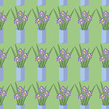 Vector seamless pattern with bouquets of iris flowers Royalty Free Stock Image