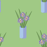 Vector seamless pattern with bouquets of iris flowers in blue vase. Royalty Free Stock Photos