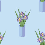 Vector seamless pattern with bouquets of iris flowers Royalty Free Stock Photos