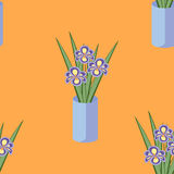 Vector seamless pattern with bouquets of iris flowers in blue vase. Stock Photo