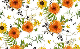 Vector seamless pattern: bouquets of orange yellow gerbera flower daisy, fern, seasonal green plants, berry branch. Elegant bright Stock Images