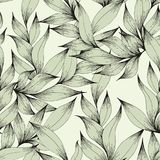 Vector seamless pattern with branches and leaves. Hand drawing. Decorative pattern for the design Stock Images