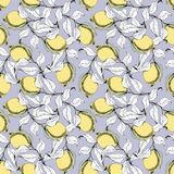 Vector seamless pattern with branches and lemons. Hand drawing Stock Photo