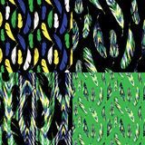 Vector seamless pattern. Bright abstract feathers. Stock Image