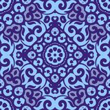 Vector seamless pattern with bright blue ornament. Tile in Eastern style. Ornamental lace tracery. Ornate swirl geometrical decor Royalty Free Stock Photo