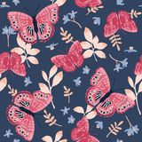 Vector seamless pattern with bright butterflies. Hand drawn texture design Royalty Free Stock Photos