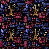 Vector Seamless pattern. Bright color illustration Shopping in Paris at night. Bonjour Lets go Travel Fashion. Dark background. royalty free illustration