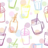 Seamless pattern with smoothie bottles and dots. Vector seamless pattern with bright glasses, bottles and jars with smoothie and juice and color circle dots Stock Image