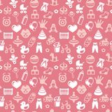 Vector seamless pattern with bright kid icons Royalty Free Stock Photography