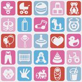 Vector seamless pattern with bright kid icons Royalty Free Stock Image